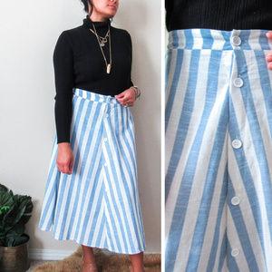 VINTAGE Striped Linen Skirt Reformation Style SZ10